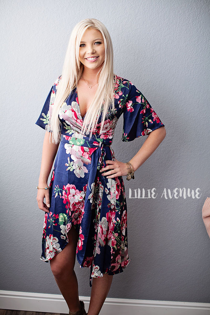 Jasmine floral dress in navy