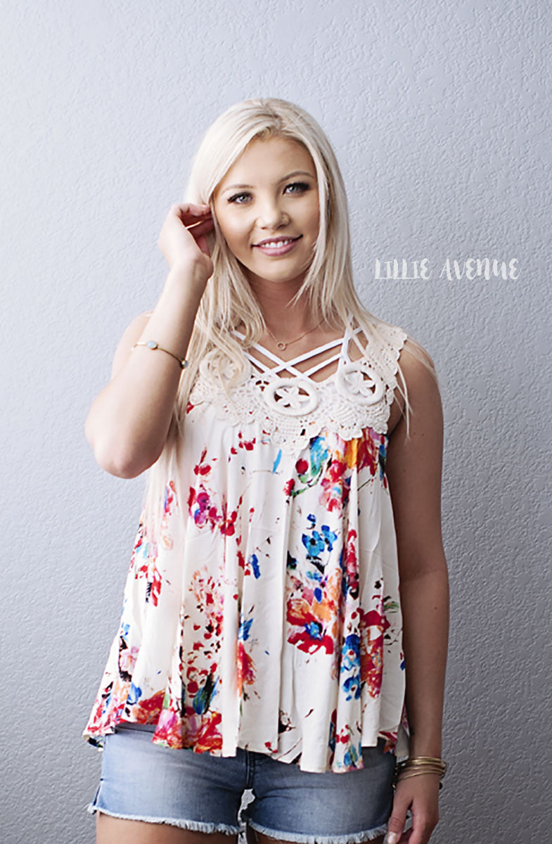Ivory and rose floral tank