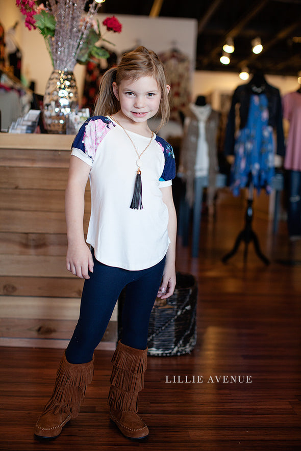 Kids White Floral Sleeve Top