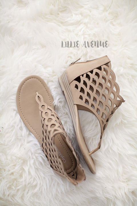 Cutout flat sandals in taupe