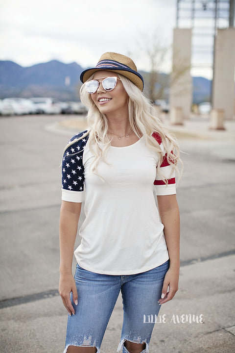 Stars and stripes ivory 3/4 tee