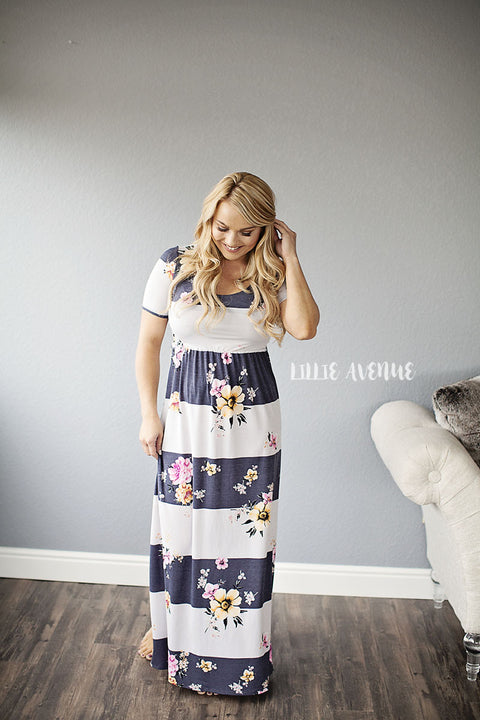 Stripe and Floral Maxi Dress