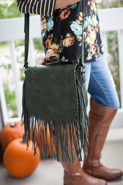 Blaire Fringe Purse in Olive