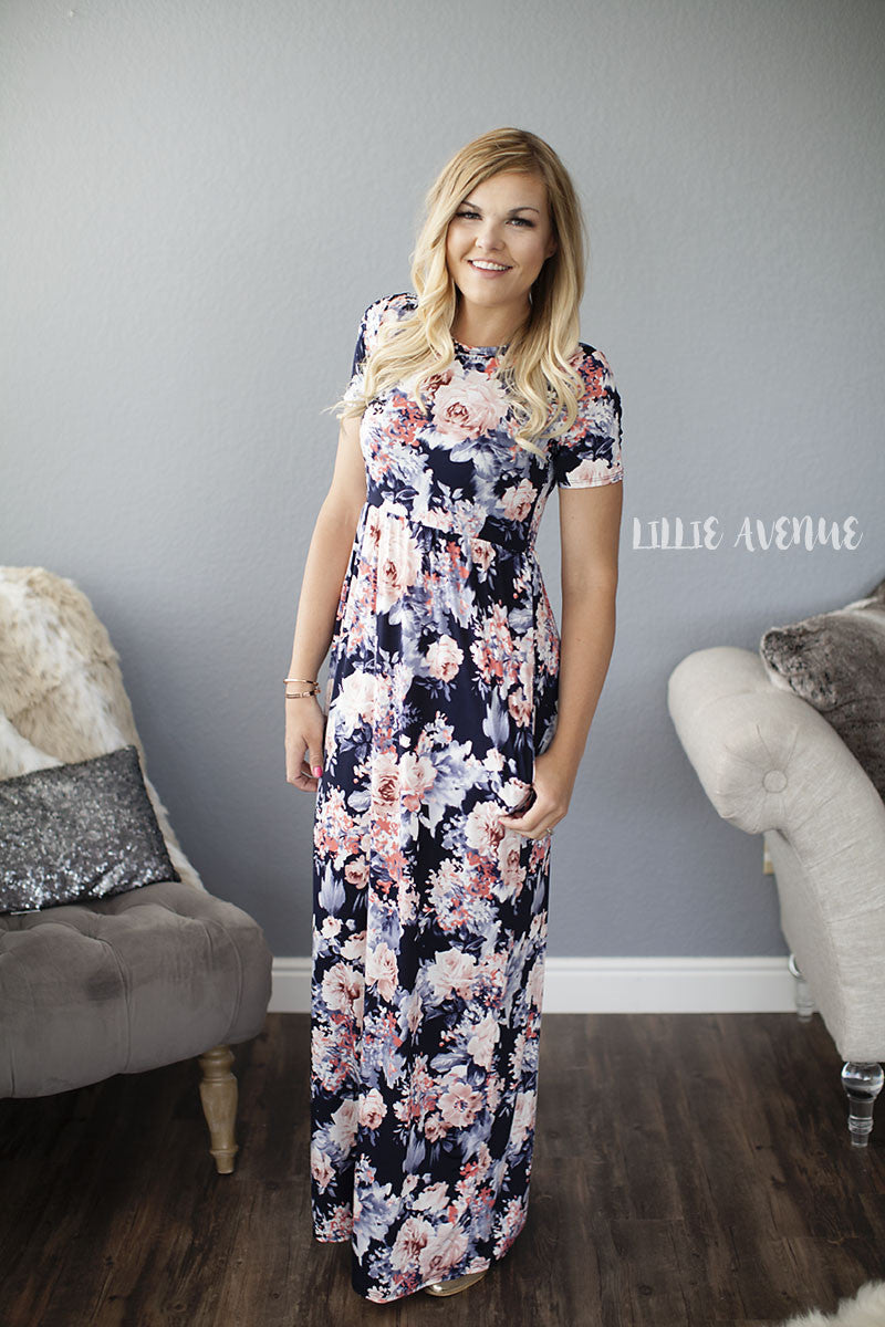Melissa navy floral dress