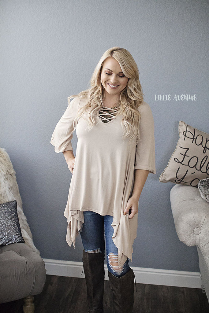 Taupe criss cross top