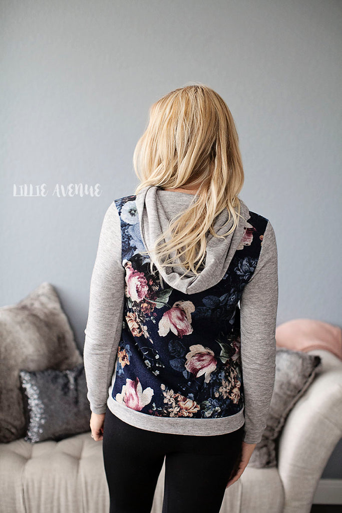 Becca Grey Floral Hooded Top