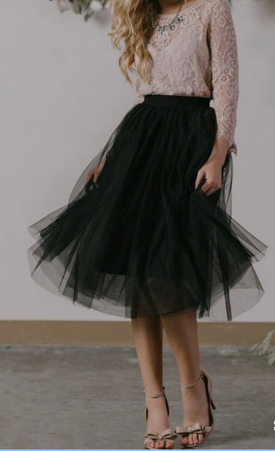 Mistletoe Tulle Skirt Black