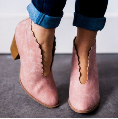 Blush scalloped booties