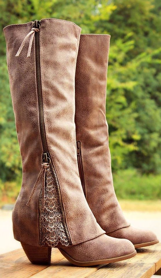 Taupe Sassy Lace Boots
