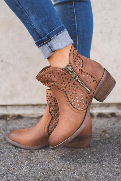 Brown cut out booties RESTOCKED