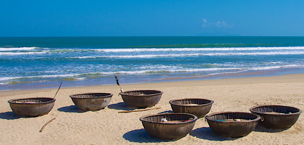Vietnamese beach scene - fishing boats
