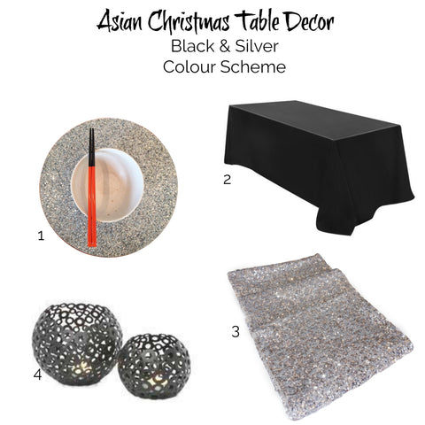 Asian Christmas inspiration Black and silver