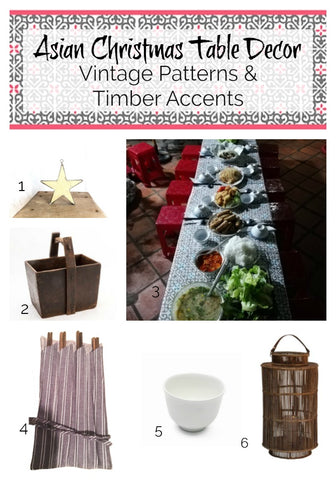 Asian Christmas inspiration Vintage patterns with timber accent