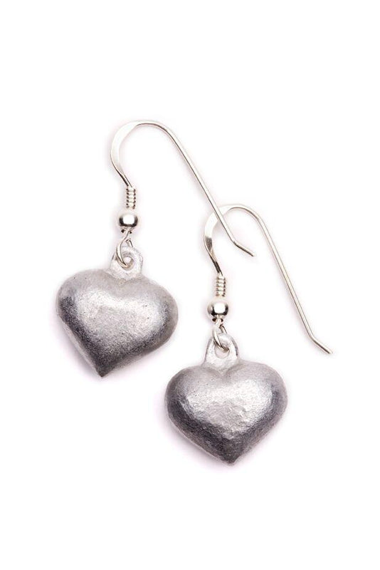 Heart Shape Earrings using recycled bomb from Laos