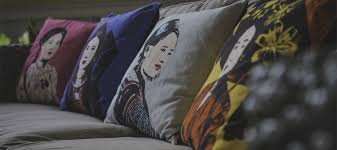 Eugenie Darge Cushions on sofa Temples and Markets