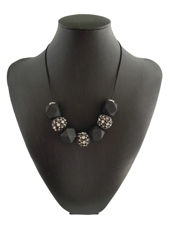 Hex Necklace - Black hexagonal beads. Recycled bomb fragments from  laos