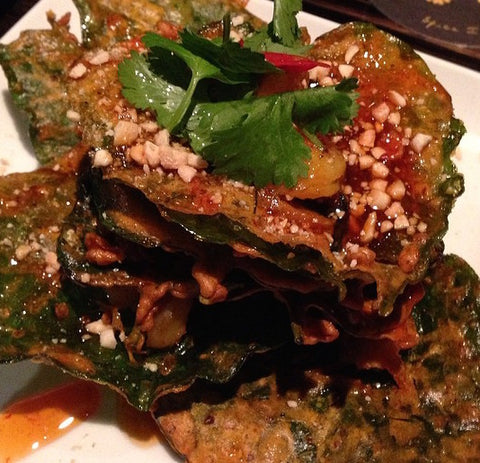rispy betel leaves with prawns and a tang of chilli