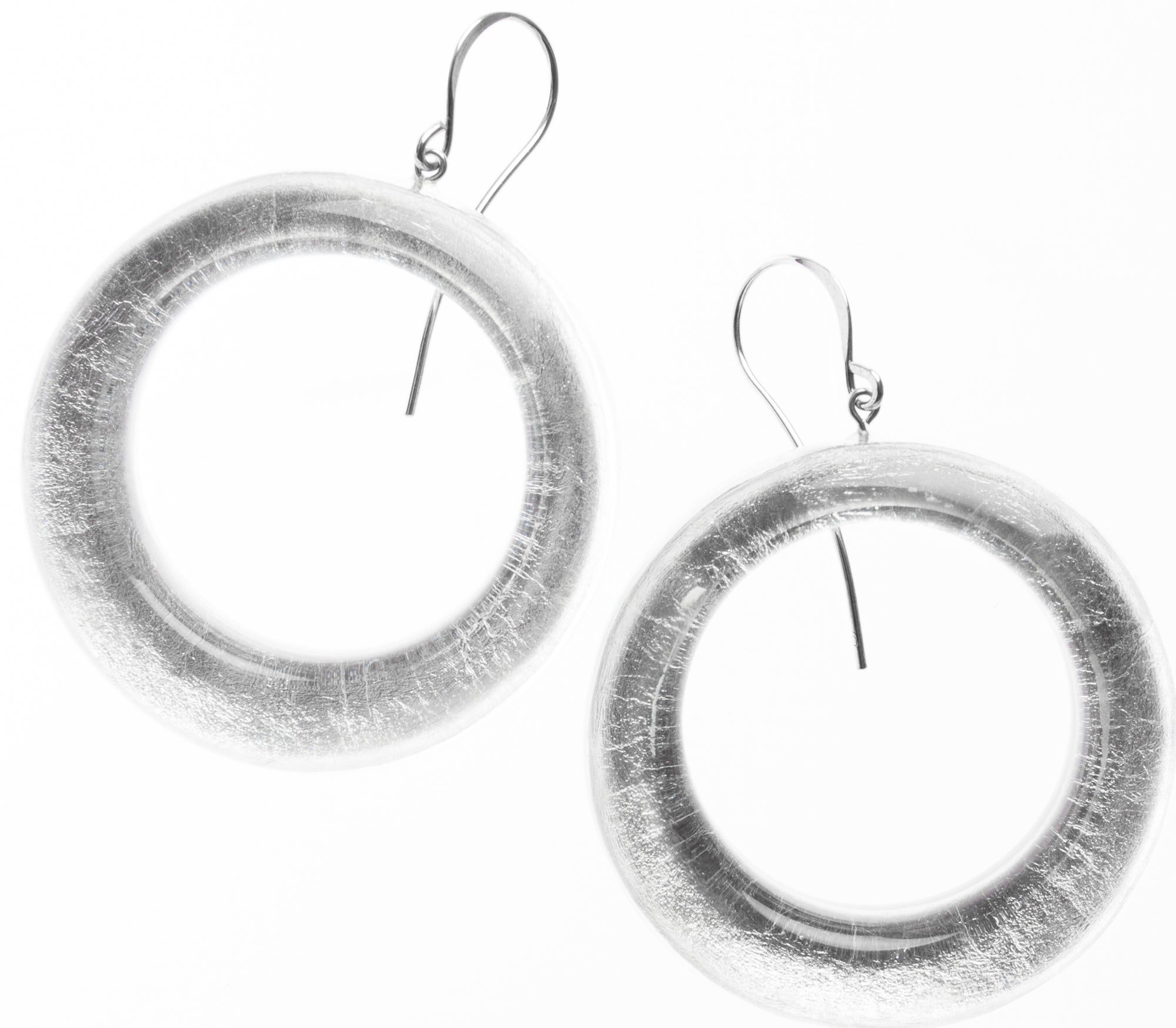 Zsiska Precious Silver Circle Drop Earrings