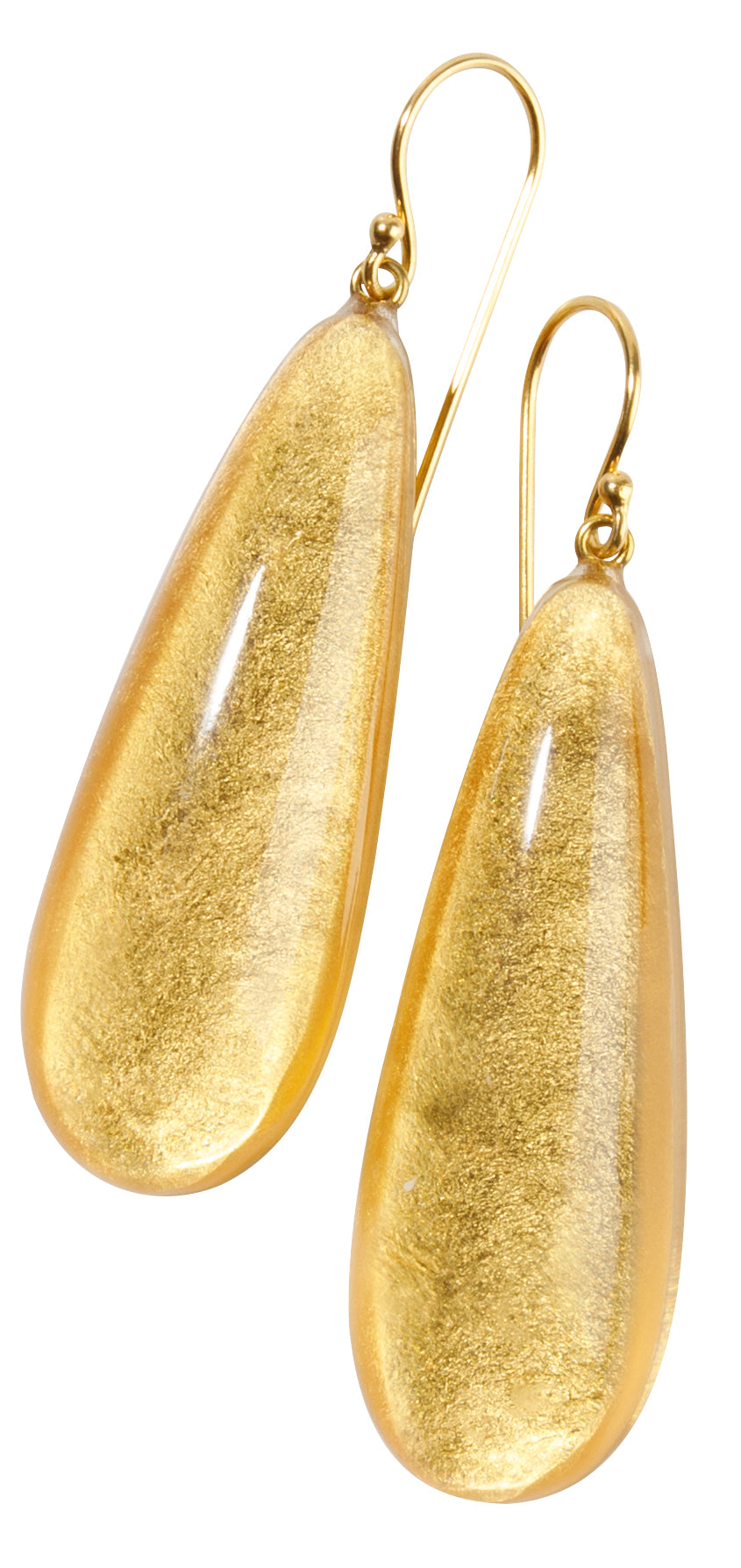 Zsiska Precious Gold Leaf Drop Earrings