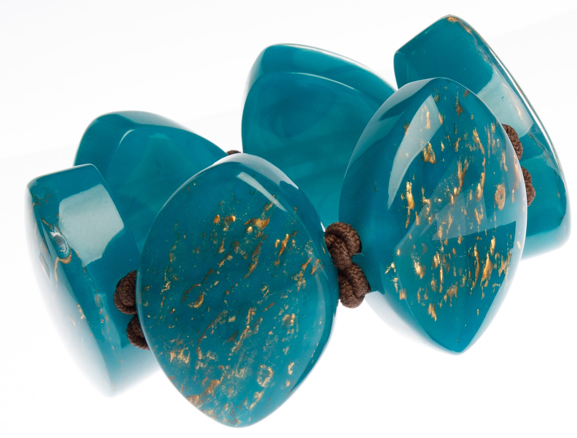 Zsiska Rhea Bracelet - Teal or Green with Gold Leaf Feature
