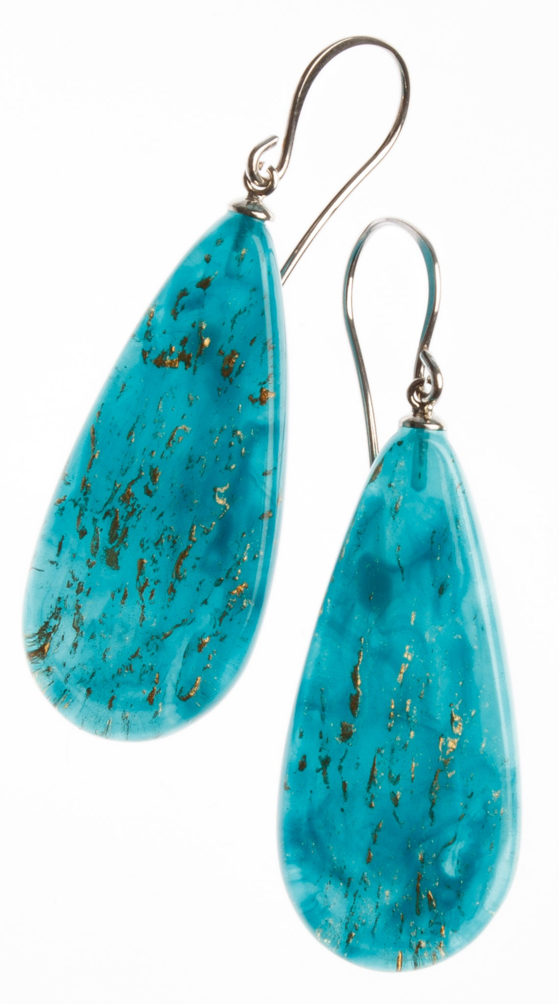 Zsiska Rhea Drop Earrings - Teal or Green with Gold Leaf Feature