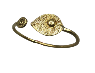 Recycled Brass Bracelet with a Leaf Feature