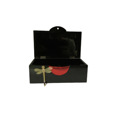 Black Lacquerware Jewellery Box with Red Lock, featuring a Dragonfly Key