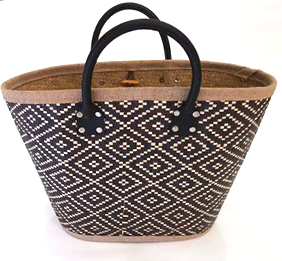 Black and Natural Coloured Palm Leaf Shopping Basket