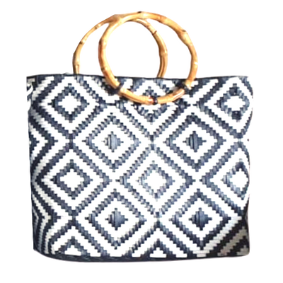 Monochrome Black and White  Handwoven Basket Bag with Round Wooden Handles