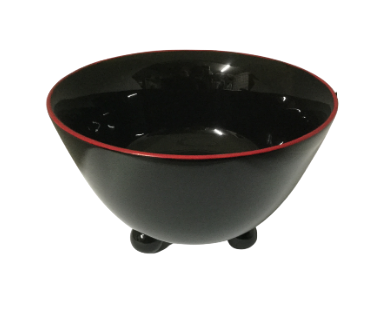 Lacquered Bowl with 3 legs - Black with Red Edging
