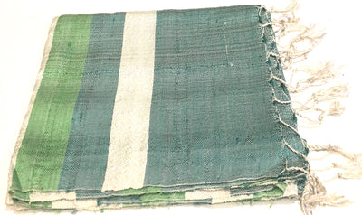 Hoa Tien Brocade Blue and Green Striped Silk Scarf