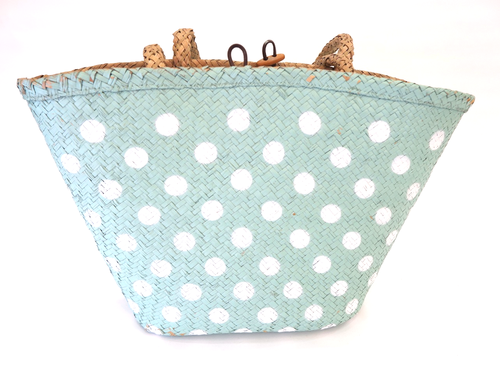 Pretty Seagrass blue and white spotty basket shoulder bag