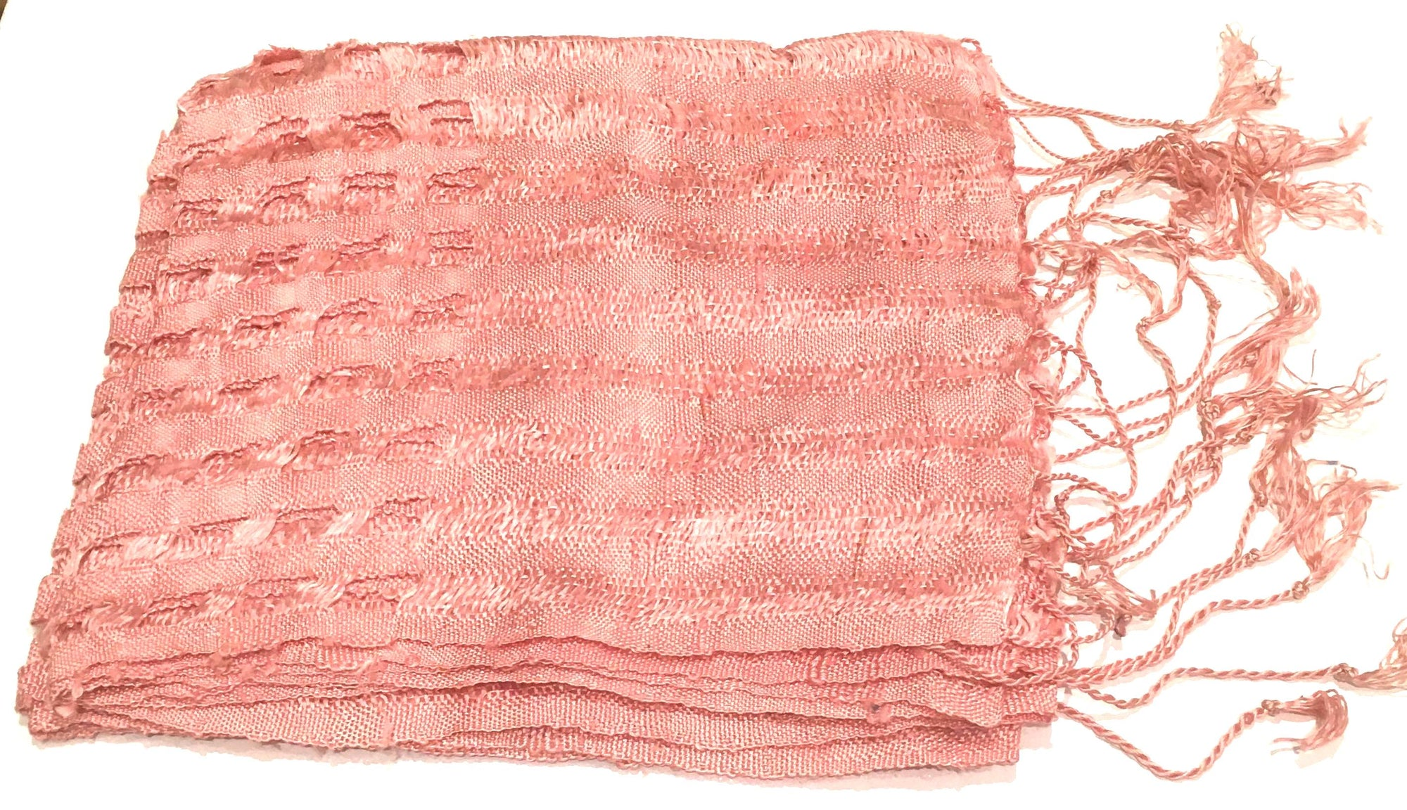 Hoa Tien Brocade Blush Pink Silk Scarf with square cutout design