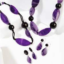 Zsiska Bossa Nova Purple and Black Earrings