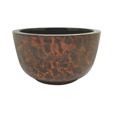 Large Painted Lacquerware Bowl - Brown and Black cloudy pattern