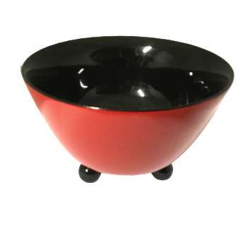 Lacquered Bowl with 3 legs - Christmas Red and Black