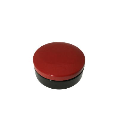 Round Lacquered Trinket Box - Christmas Red