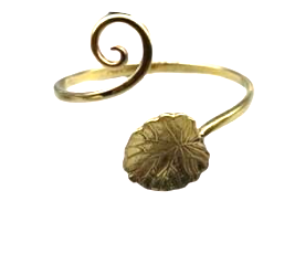 Recycled Brass Bracelet with a Swirl and Leaf Feature