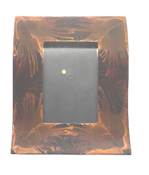 Wave Shaped Lacquerware Photo Frame - Dark Fireworks design