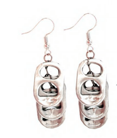 Solene M Pop Tab Drop Earrings made from recycled Can Pull Tabs