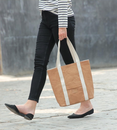 Ella Light Camel Tote Bag made from Washable Paper, an eco-friendly alternative to leather