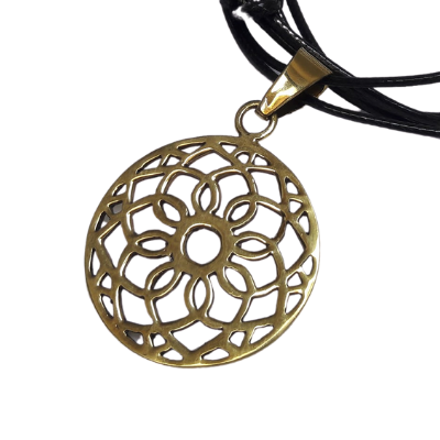 Brass Flower Net Pendant
