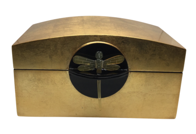 Gold Jewellery Box with Hinged Lid, featuring a Dragonfly Key