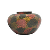Splashes of Gold and Red Painted Round Vase