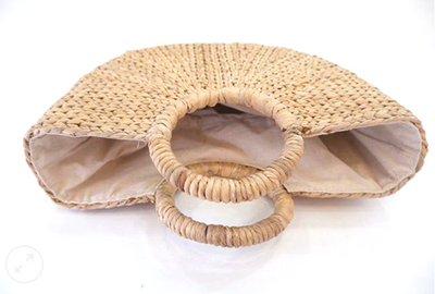 Classic Half Moon Basket Bag made from sustainable Water hyacinth