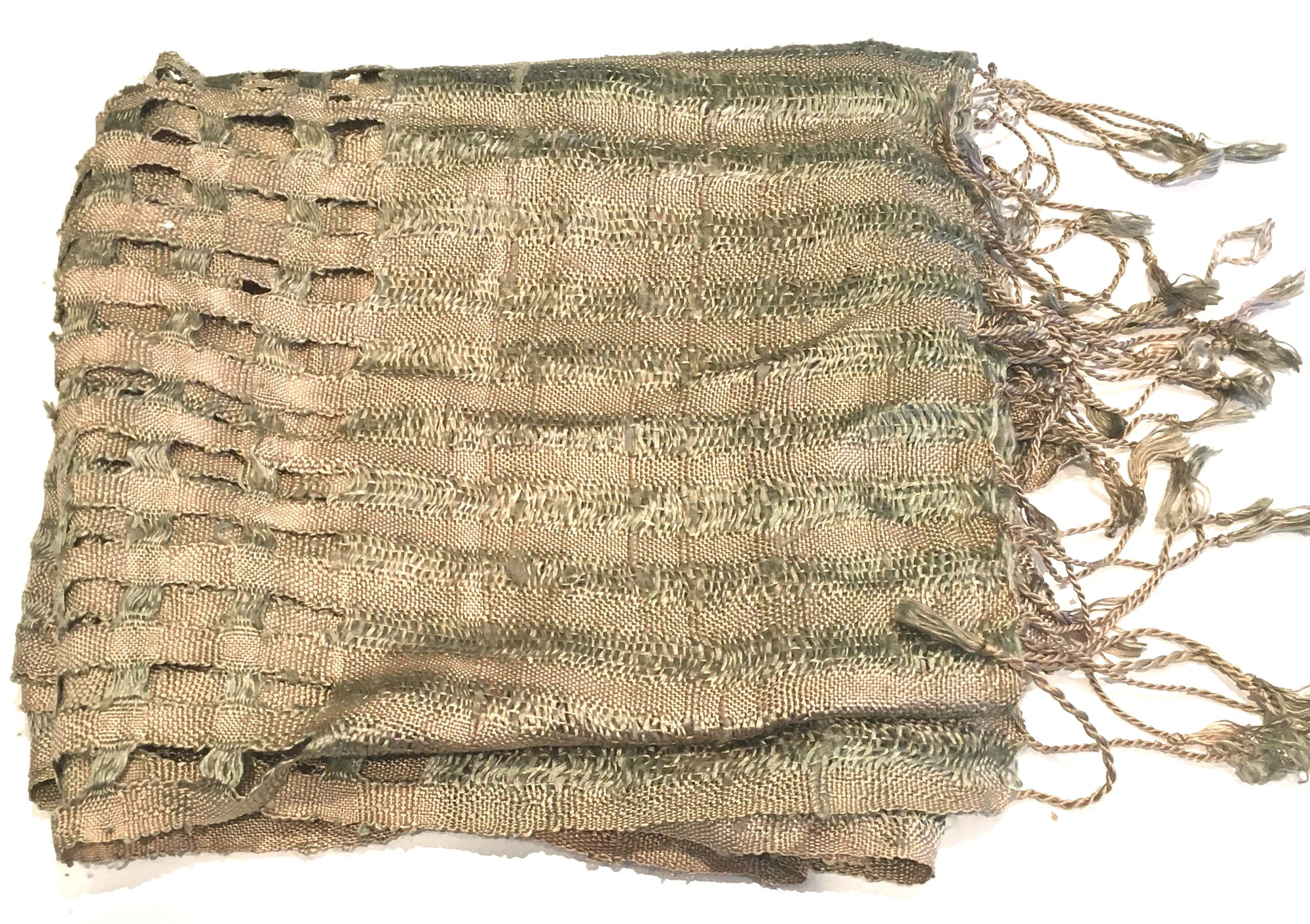 Hoa Tien Brocade Khaki Silk Scarf with square cutout design