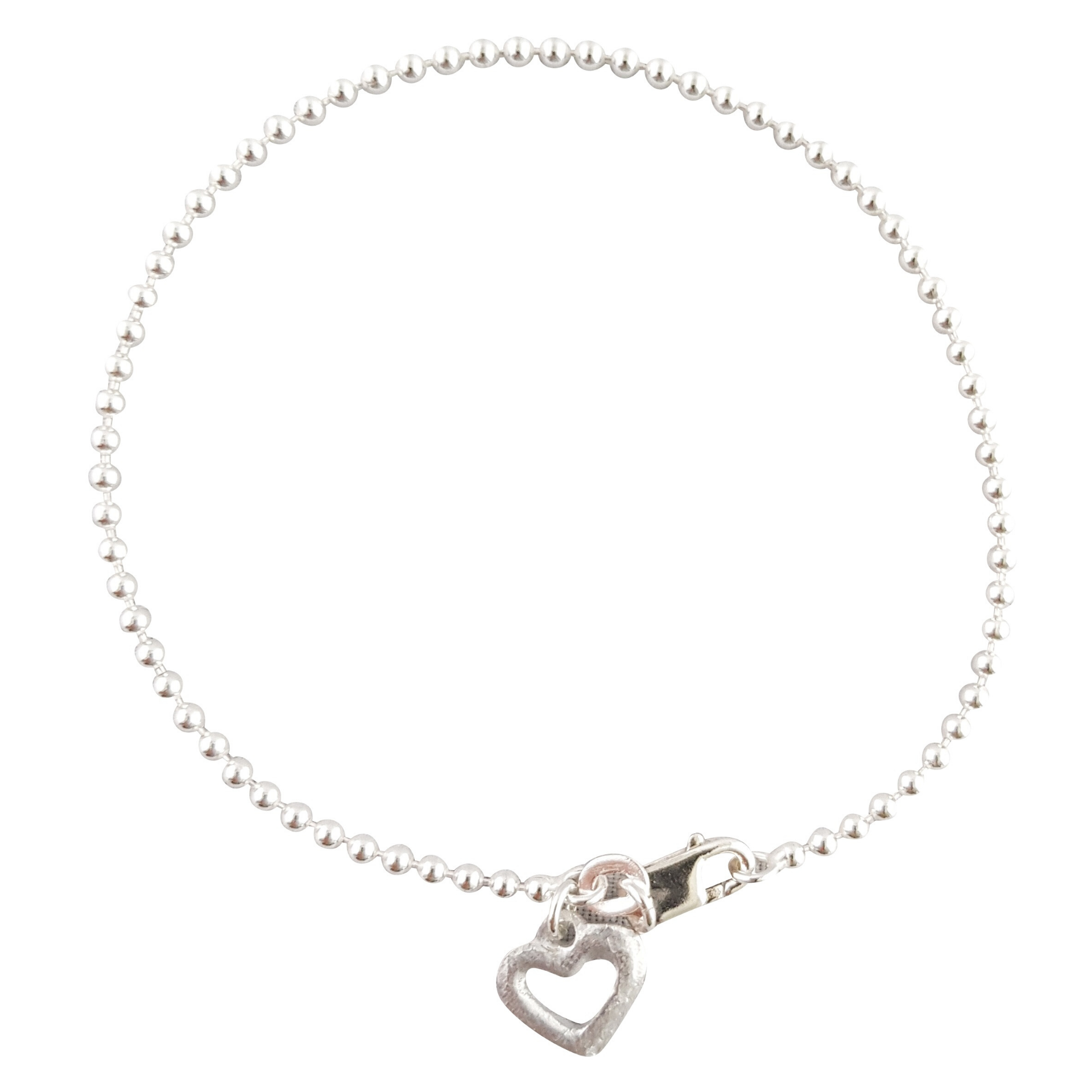 LOVEbomb Sterling Silver Ball and Heart Charm Bracelet