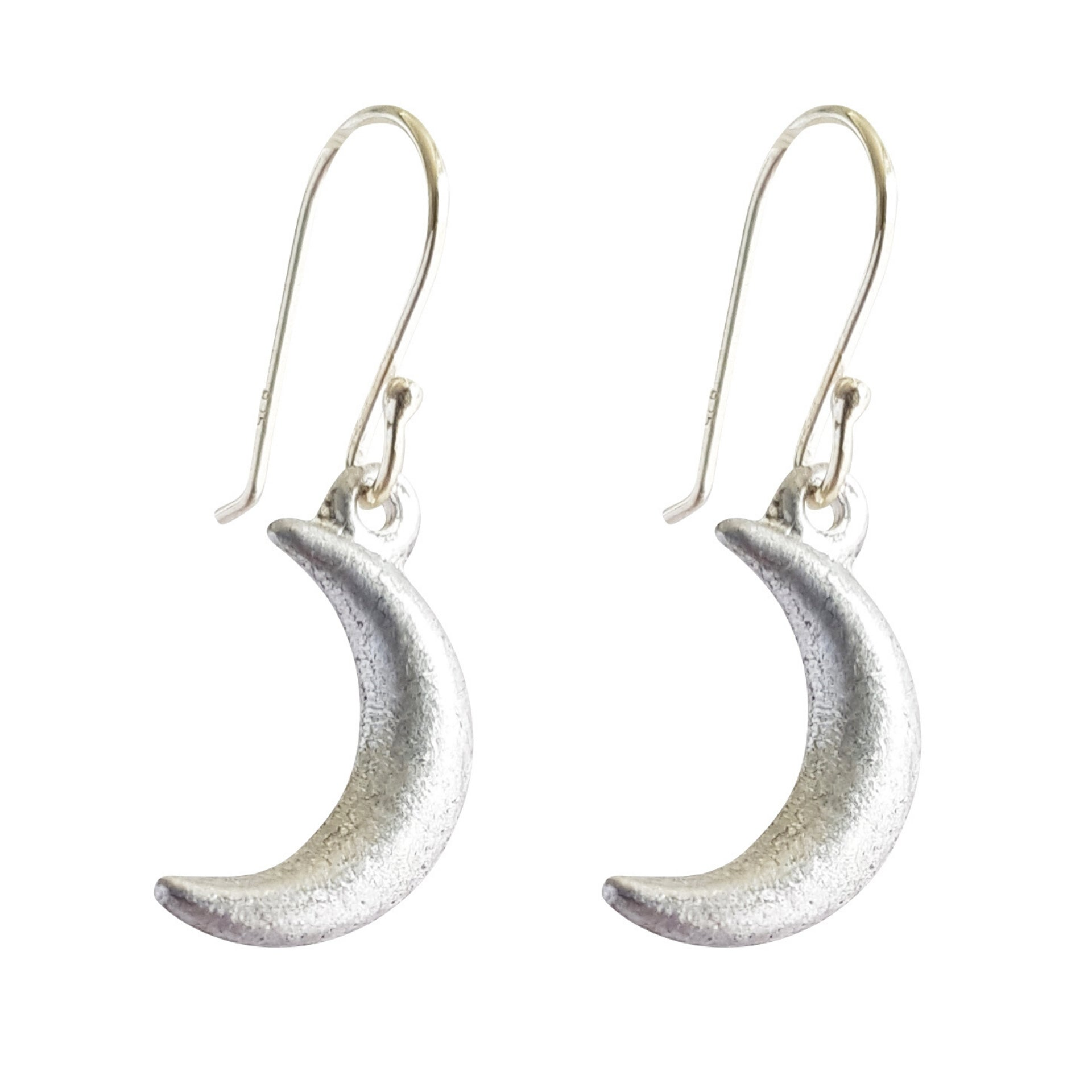 LOVEbomb Crescent Moon Shaped Sterling Silver Hook Earrings