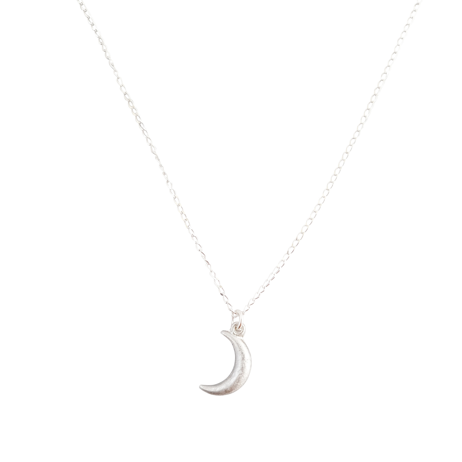 LOVEbomb Crescent Moon Pendant on Sterling Silver Chain