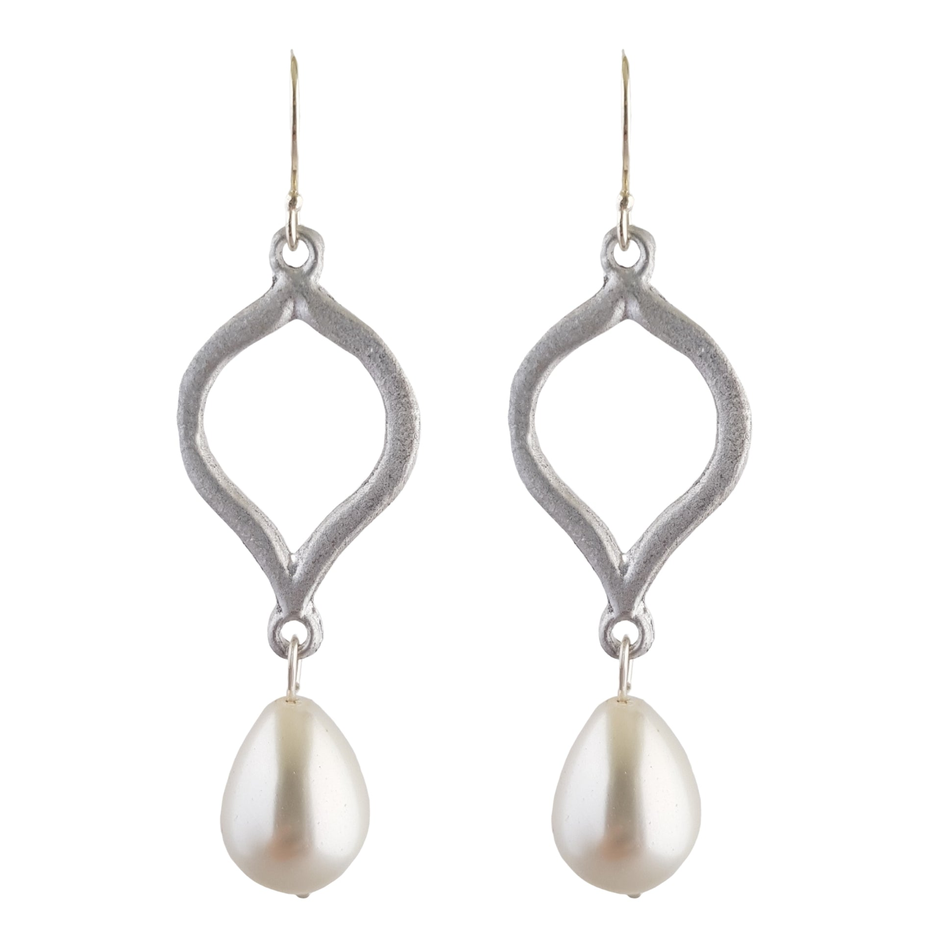 LOVEbomb Flame White Pearl Drop Earrings on Sterling Silver Hooks